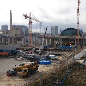 Plac budowy dworca kolejowego Łódź Fabryczna