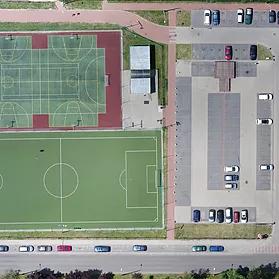 Ortofotomapa boiska sportowego i parkingu