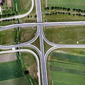 Zdjęcie lotnicze węzła drogowego